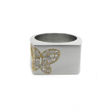 Anillo acero mariposa dorada de brillos