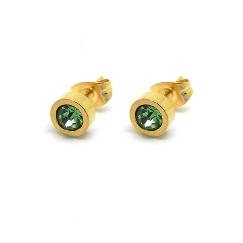 Punto de luz acero dorado cristal verde lima