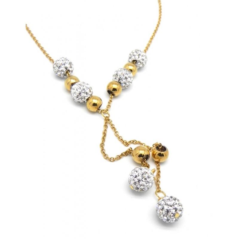 Collar dorado con de esferas doradas y brillantes