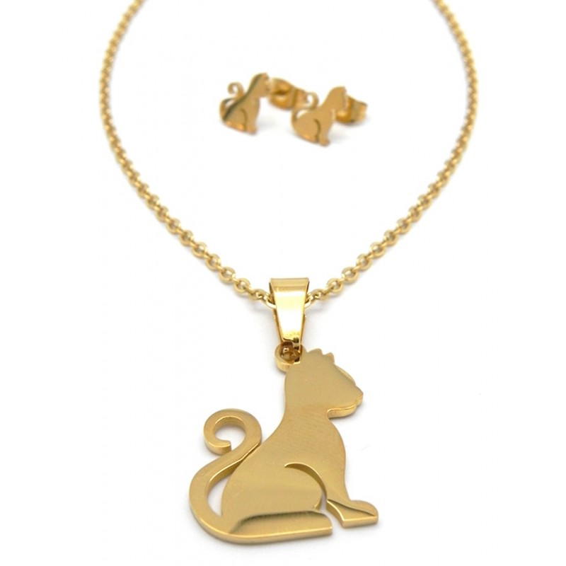 Conjunto dorado con colgante de gatito