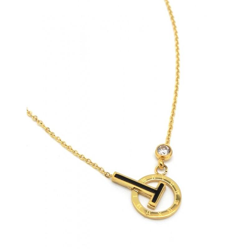 Collar dorado con disco diseño nros romanos y T negra