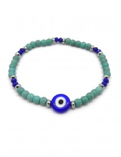 Pulsera piedras color turquesa y ojo turco