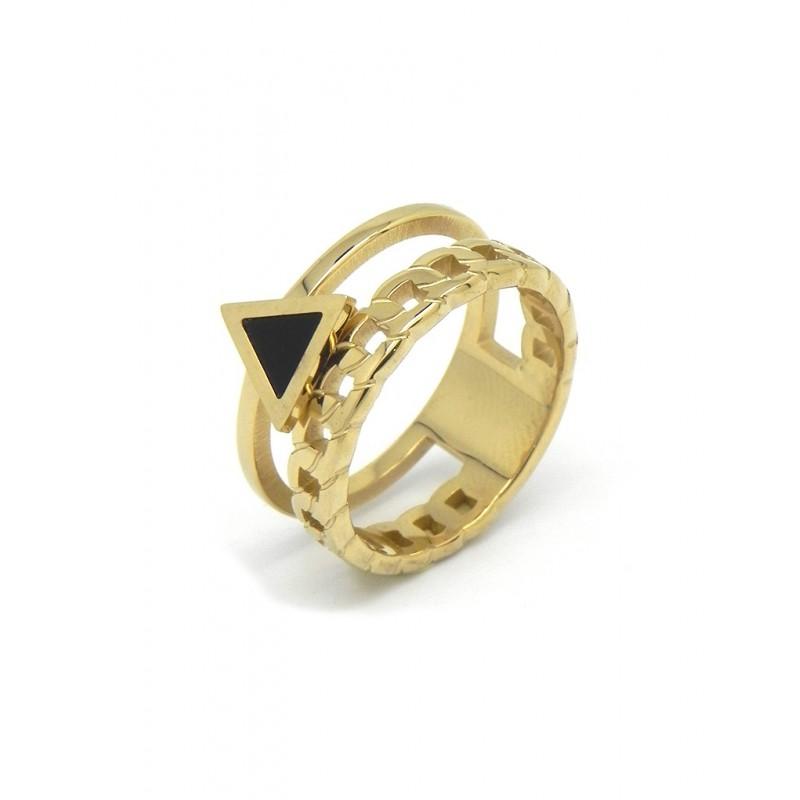 Anillo acero dorado triángulo negro