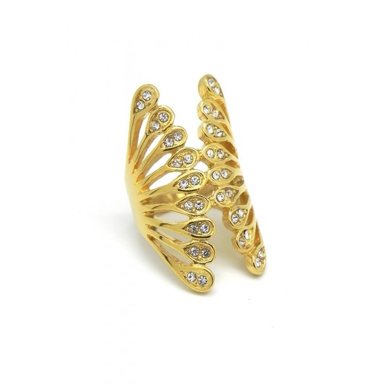 Anillo acero dorado alas de mariposa