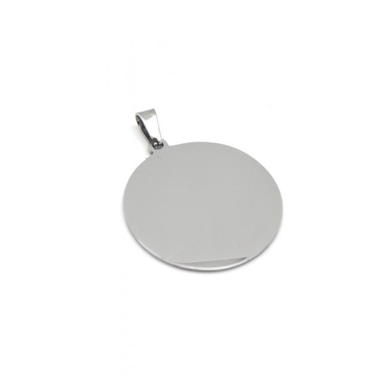 Colgante placa circular plateada