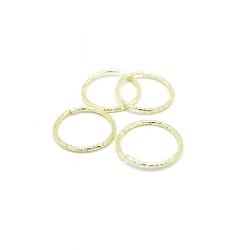 Pack de 4 argolla dorada texturizada baño de oro