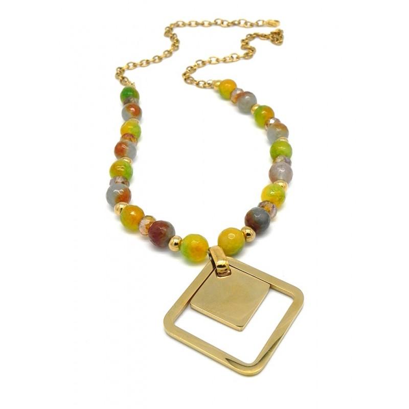 Collar acero dorado agatas de colores colgantes cuadrados