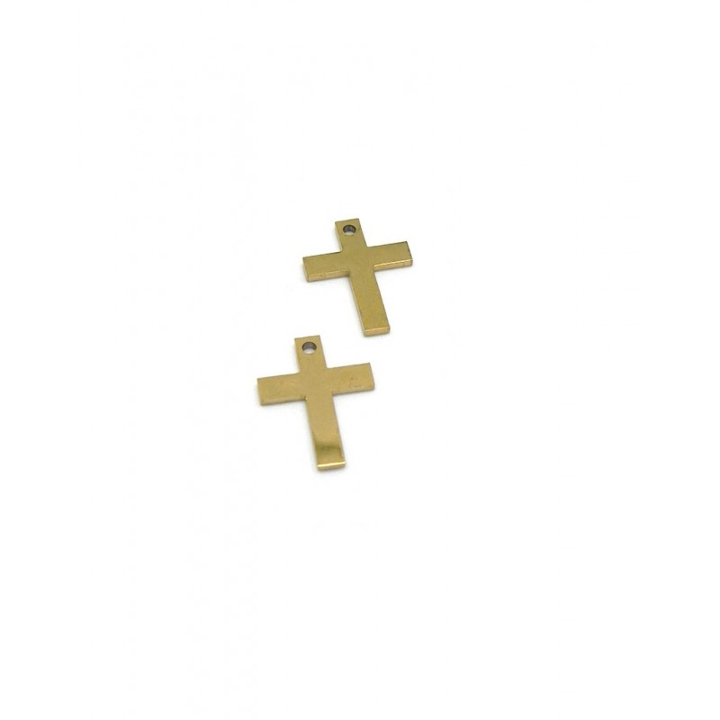 Pack 2 colgantes cruz lisa acero dorado