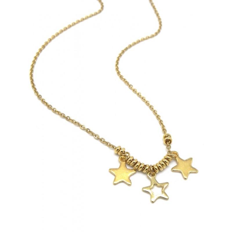 Collar estrellas acero dorado